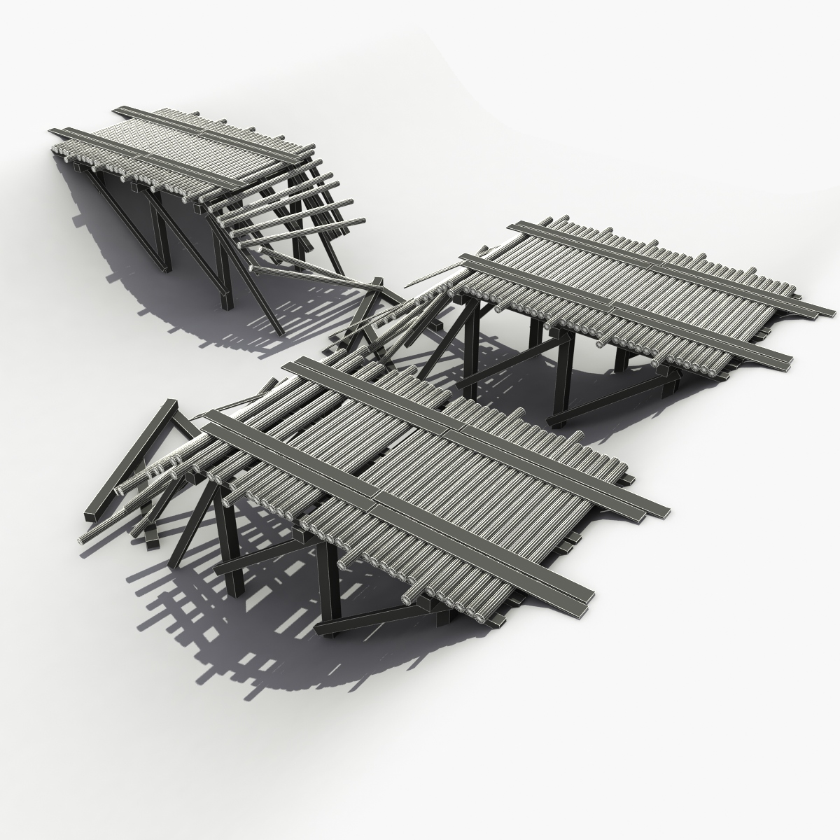 3D model Destroyed Wooden Bridge